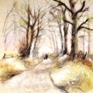 Artist: The Singing Crafter<br>Title: Winters Morning<br>Medium: Needle Felting