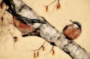 Artist: The Singing Crafter<br>Title: Nuthatch on the Birch<br>Medium: Needle Felting