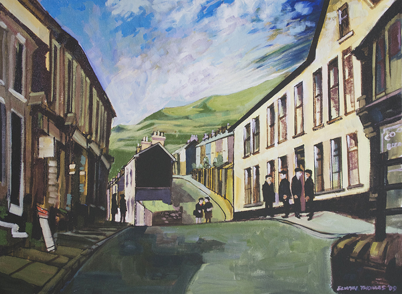 Artist: Elwyn Thomas<br>Title: Blaenllechau on a Sunny Day<br>Medium: Print of Oil Painting