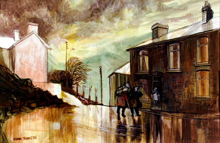 Artist: Elwyn Thomas<br>Title: Blaenllechau in the rain<br>Medium: Giclée Print