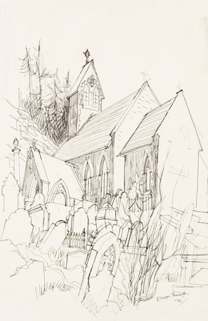 Artist: Elwyn Thomas<br>Title: Sketch of Llanwonno Church<br>Medium: Giclée Print