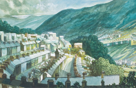 Artist: Elwyn Thomas<br>Title: Ferndale with Blaenllechau on the mountain on the right<br>Medium: Giclée Print
