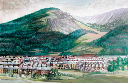 Artist: Elwyn Thomas<br>Title: Treherbert, Mountain and Town<br>Medium: Giclée Print