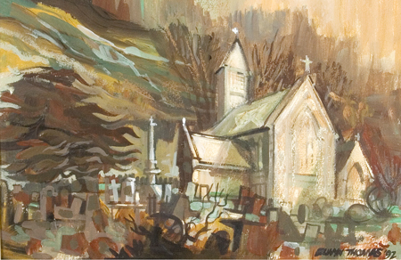 Artist: Elwyn Thomas<br>Title: Llanwonno Church, Autumn<br>Medium: Giclée Print