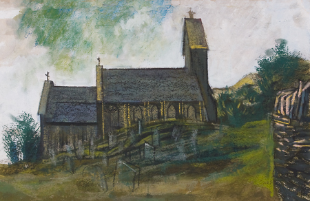 Artist: Elwyn Thomas<br>Title: The Church at Llanwono<br>Medium: Giclée Print